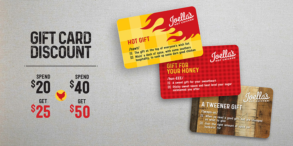 Gift Card Discount: spend $20 get $25, spend $40 get $50