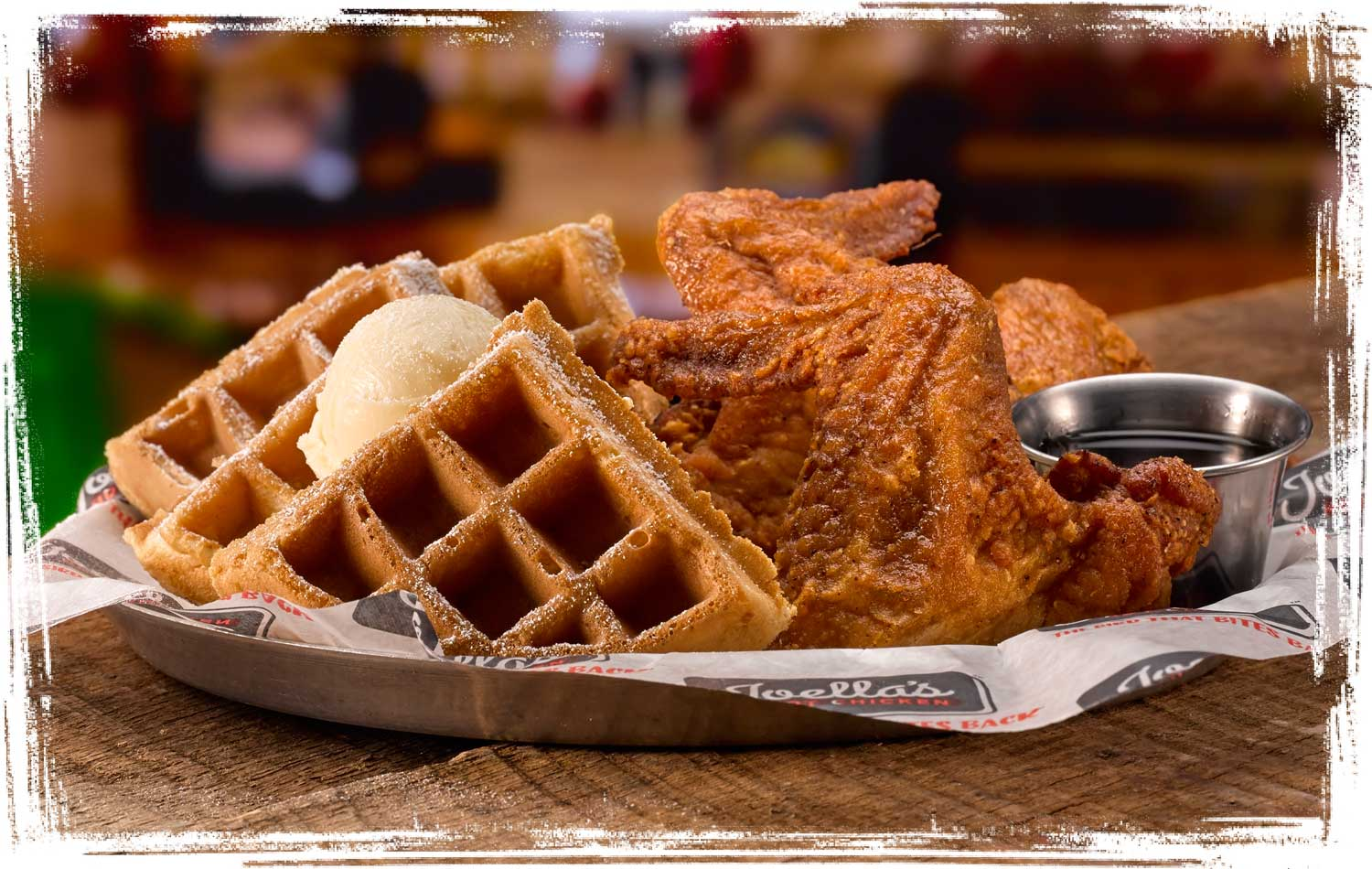 Joella's Chicken and Waffles plate
